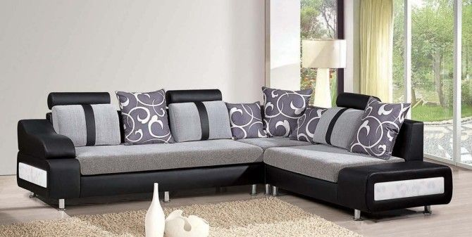 Living Room , Extravagant Living Room Design Ideas For 2014 : Minimalist  Sofa With Letter L Design In Black And Grey For Living Room 2014