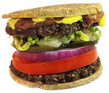 veggie burger patties sandwiched with shredded lettuce, tomato, onion, our h...  - Quintessence Food -Two veggie burger patties sandwiched with shredded lettuce, tomato, onion, our h...  - Quintessence Food -