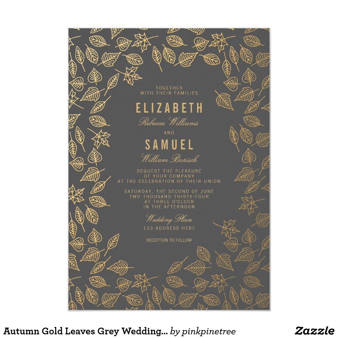 Autumn Gold Leaves Grey Wedding Invitation | Zazzle.co.uk | Grey ...