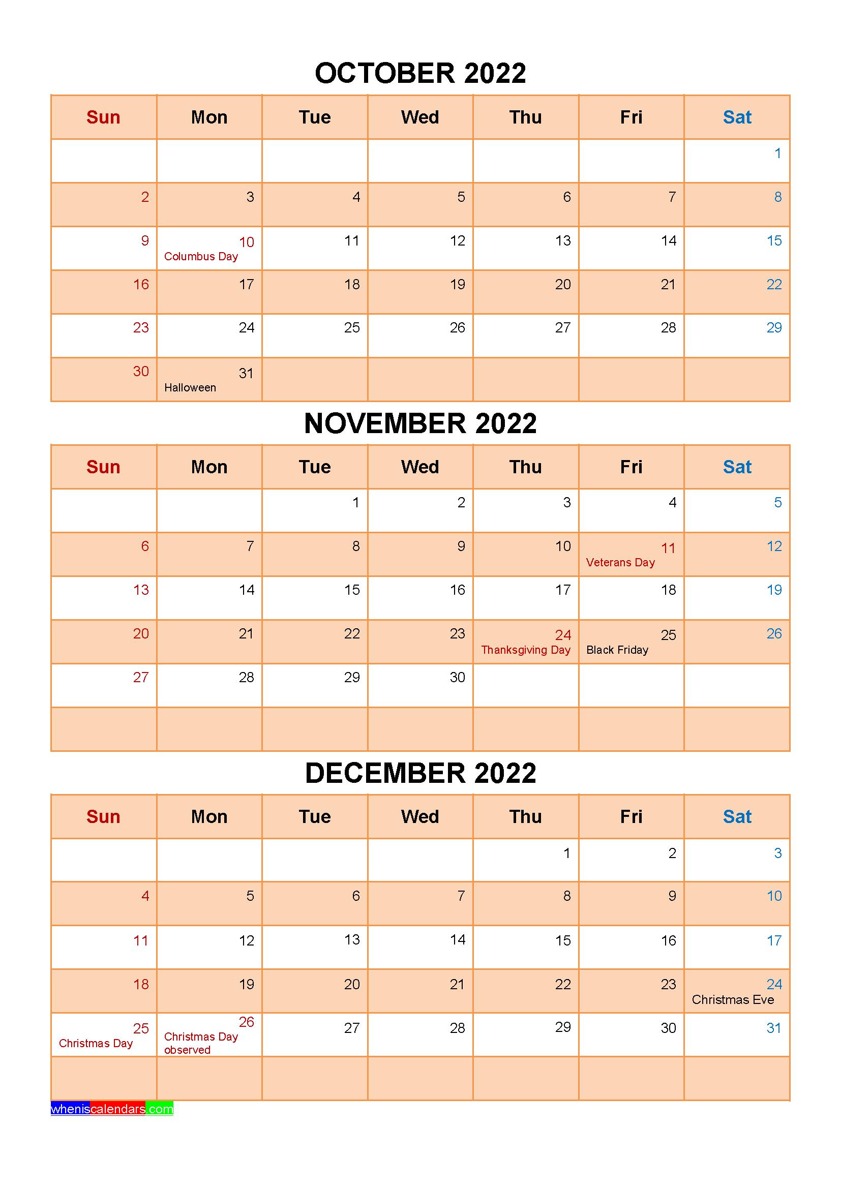 December 2022 Calendar With Holidays.Printable October November December 2022 Calendar With Holidays Four Quarters January February March Holiday Printables Calendar Printables