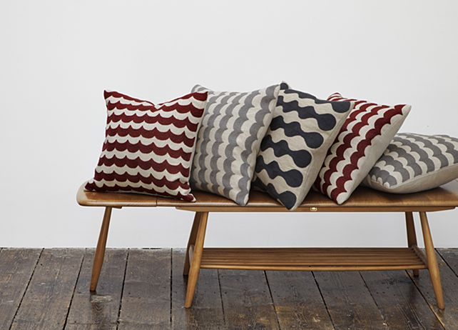 CONTEMPORARY GRAPHIC DESIGNS EMBROIDERED ON NATURAL LINEN USING A TRADITIONAL WOOL EMBROIDERY METHOD