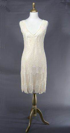 The Vamp Cream Bone : Beaded 1920's Style Gowns, Art Deco Gowns, 20's Flapper Fringe Dresses, Vintage Daywear, Hollywood Reproductions..... from LeLuxe Clothing