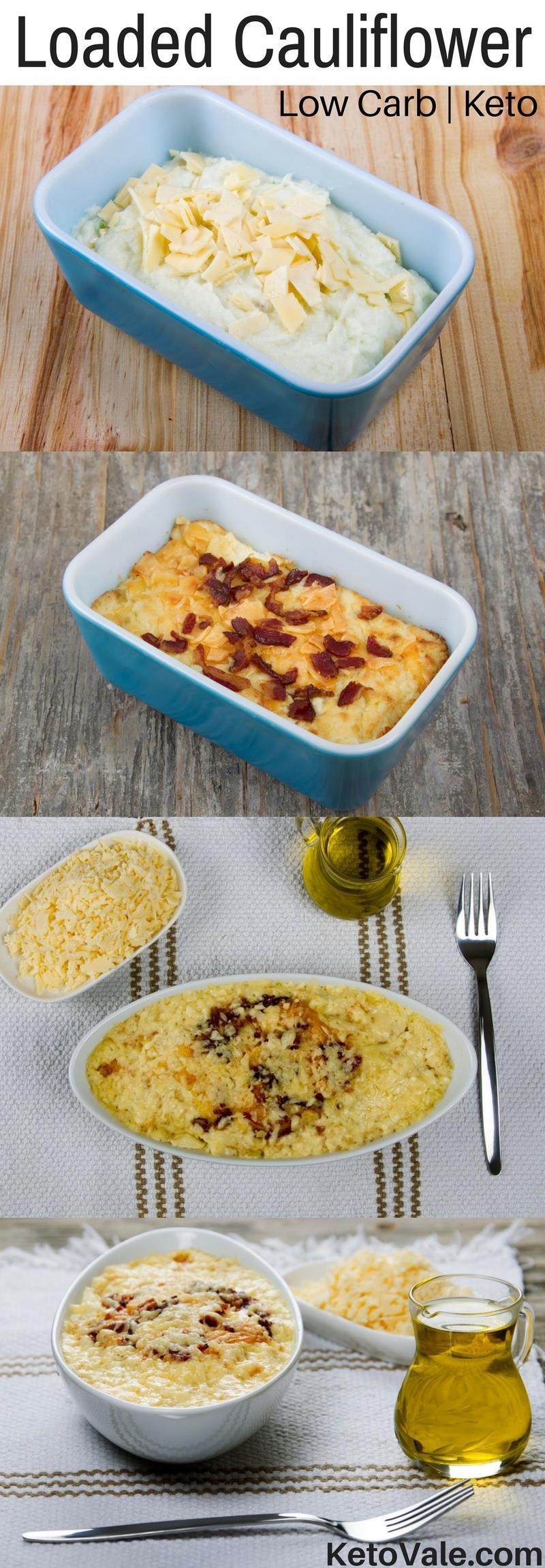 Cheesy Loaded Cauliflower Bake Low Carb Recipe #loadedcauliflowerbake