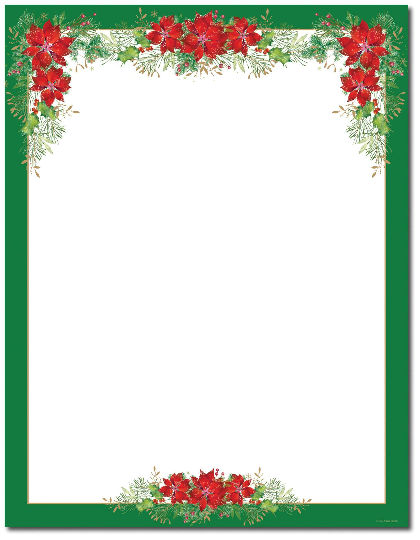 Poinsettia Valance Letterhead  Holiday Papers
