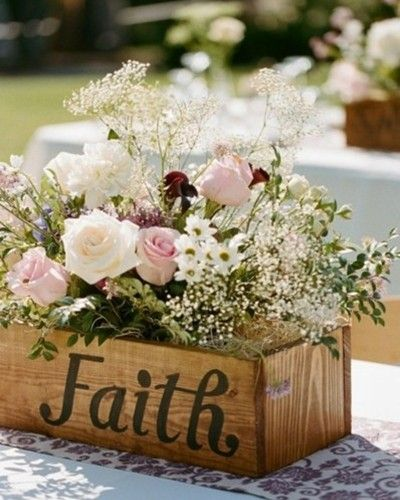 LOVE the idea of an old wine crate as the center piece to hold the flowers--Vintage wedding ideas and wedding invitations.