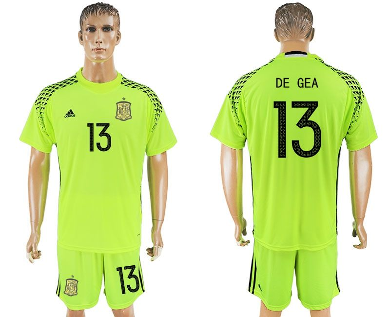 online store fc460 7f46f 2017-2018 Spain Fluorescent DE GEA #13 green goalkeeper ...