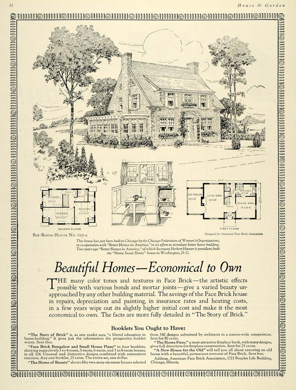 1925 ad home bungalow house plan chicago herbert hoover for Chicago bungalow house plans