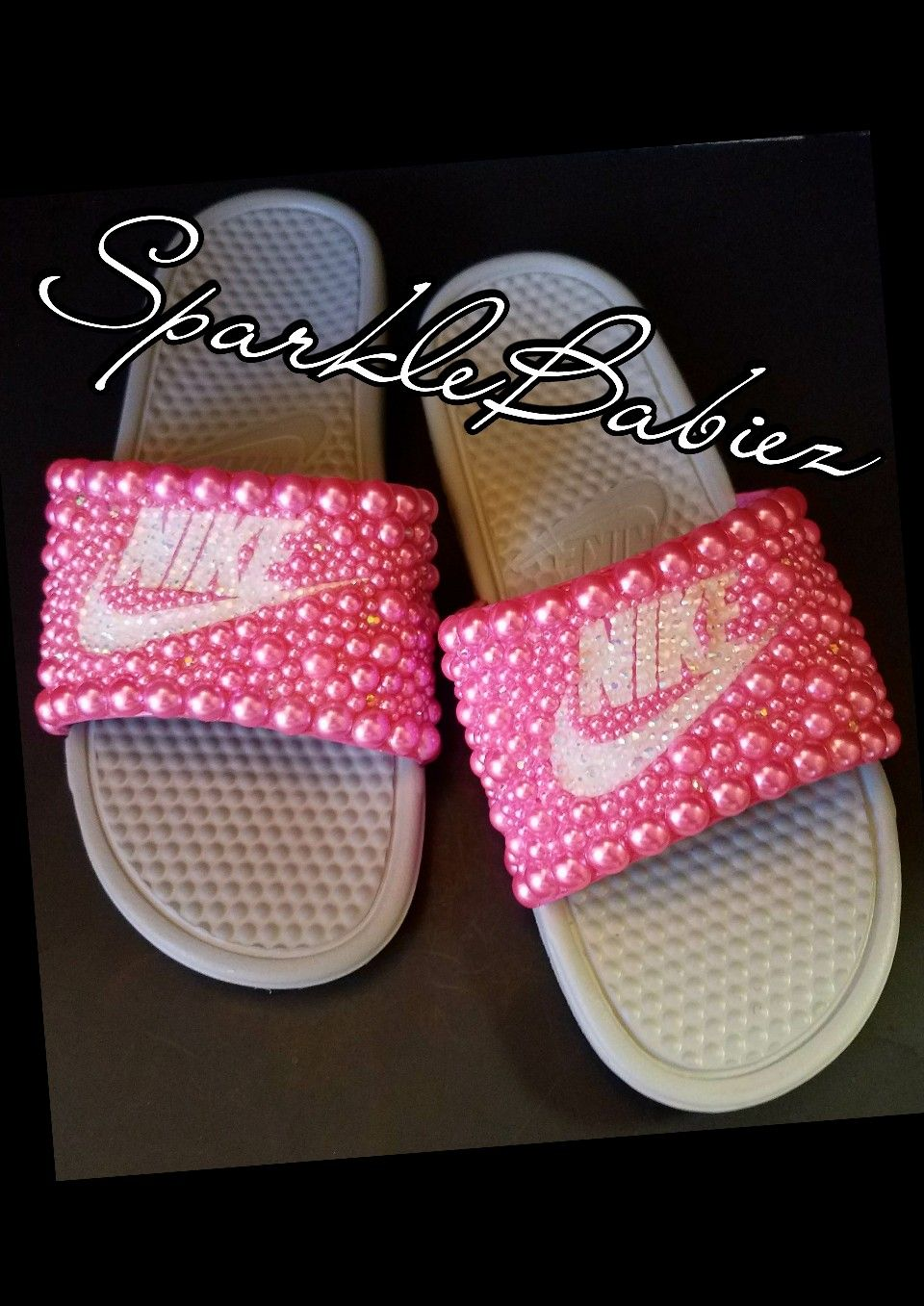 Glitter shoes · Custom Bling & Pearl Nike Slides #SparkleBabiez