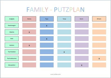 putzplan vorlage familie haushalt pinterest. Black Bedroom Furniture Sets. Home Design Ideas