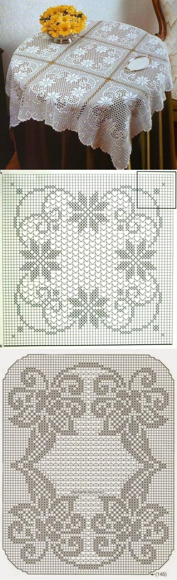 скатерти и салфетки вязанные   Tischdecken, Runde tischdecke und Häkeln