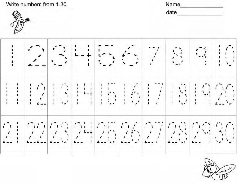 Printables Number Tracing Worksheets 1-30 number writing practice handwriting worksheets and on pinterest
