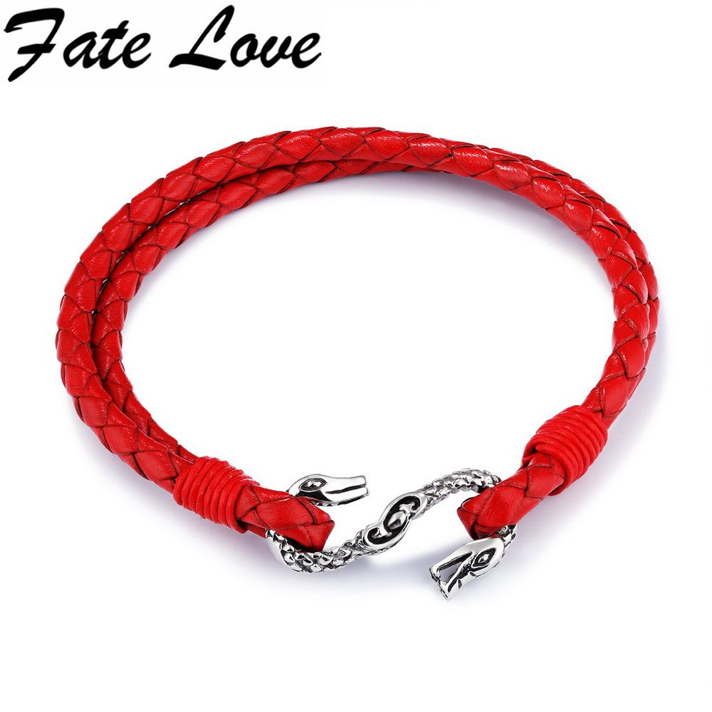 Fate love classic double snake bracelet red multy layer braided