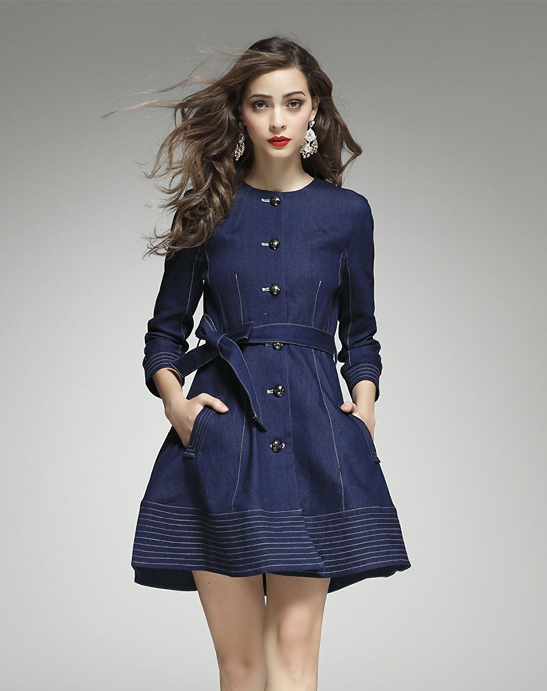 Long sleeve denim puff super mini dress mini dresses minis and