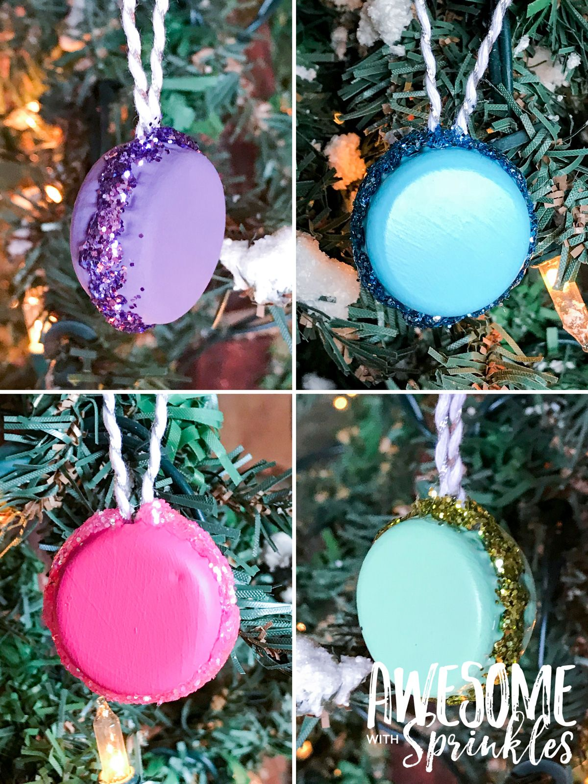 Diy French Macaron Ornaments And Present Toppers Diy Christmas