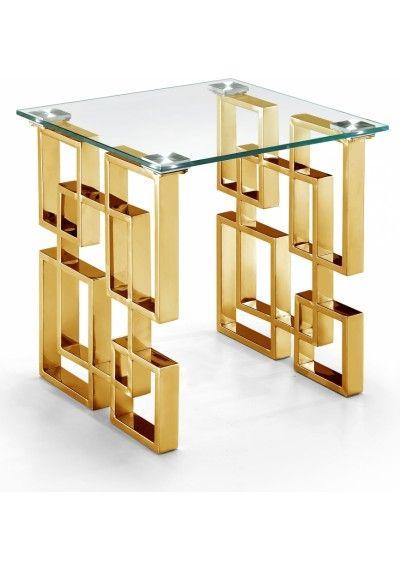 Gold Geometric Base Glass Top Rectangular Coffee Table In