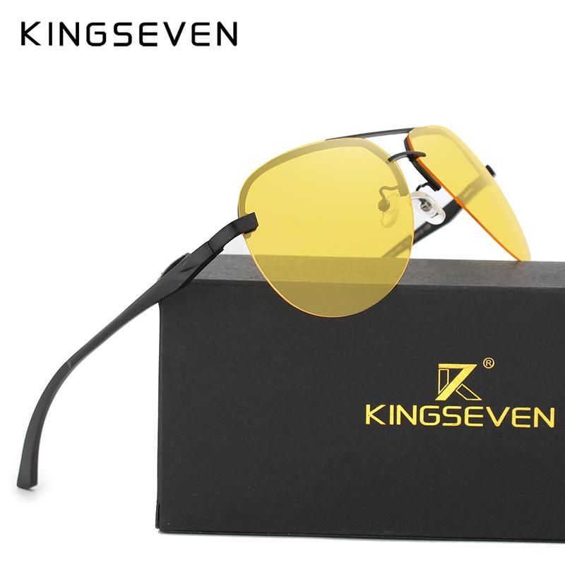 9b50f259962 KINGSEVEN 2017 Aluminum Magnesium Polarized Sunglasses Men Brand HD Night  vision Polaroid Lens Driving Sun glasses Vintage Male