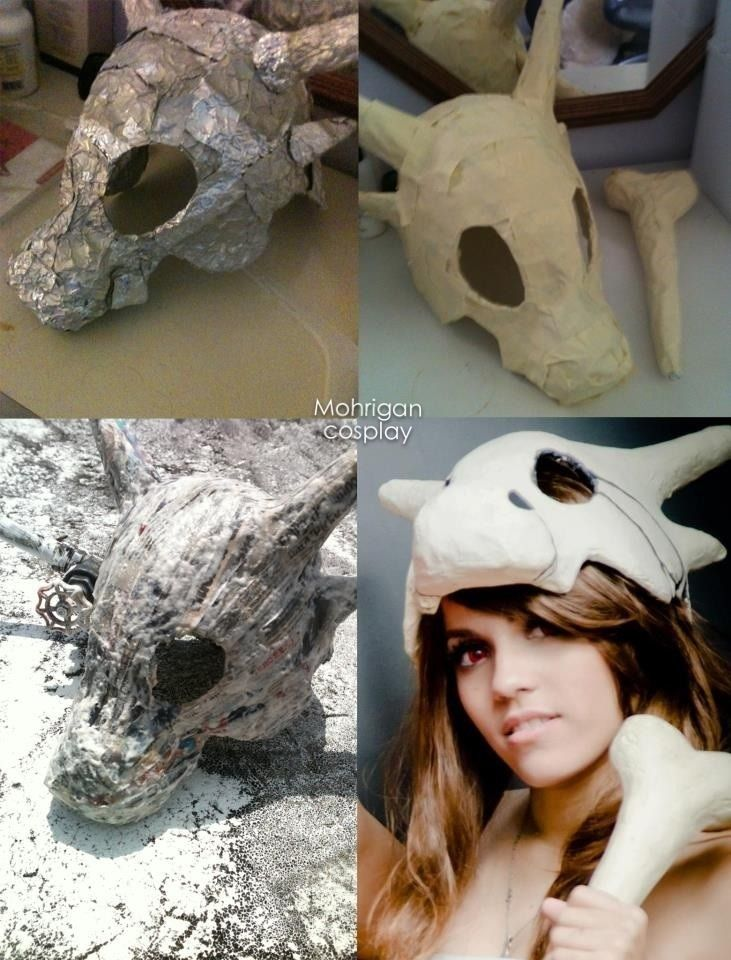 How to make cubone head with aluminum foil and paper mache   - halloween costume ideas tumblr