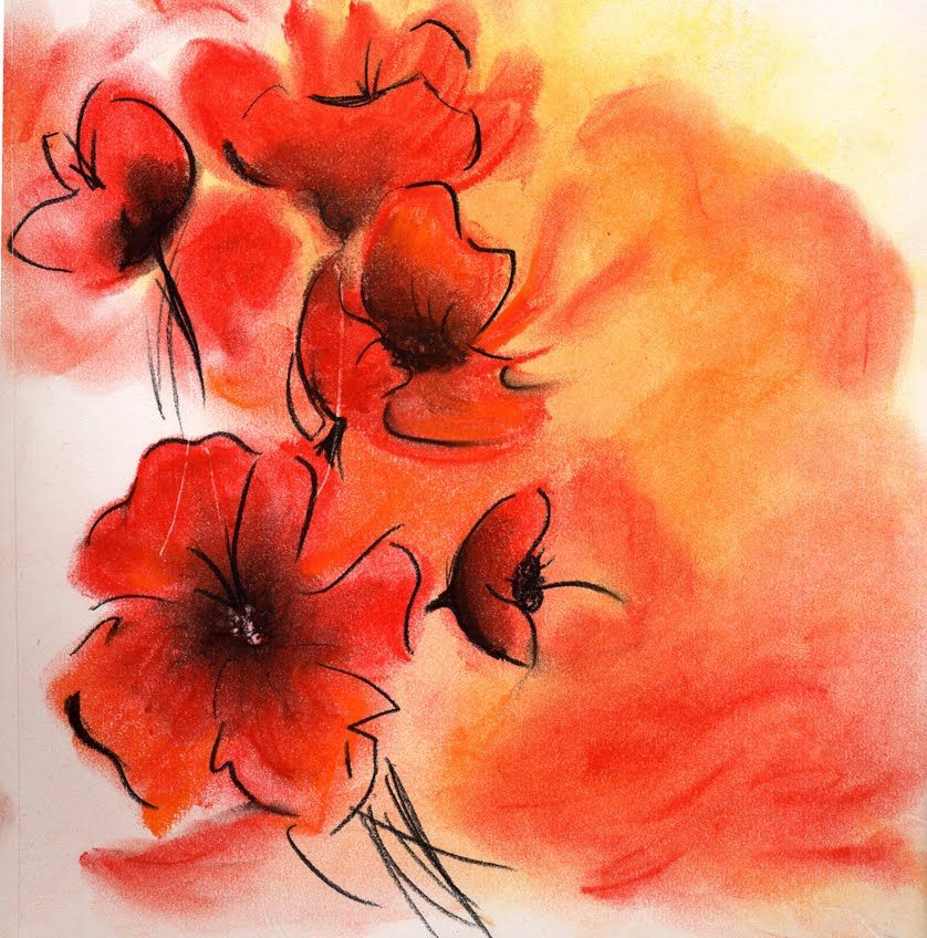 Touch of Colour Poppy Soft Pastel Artwork