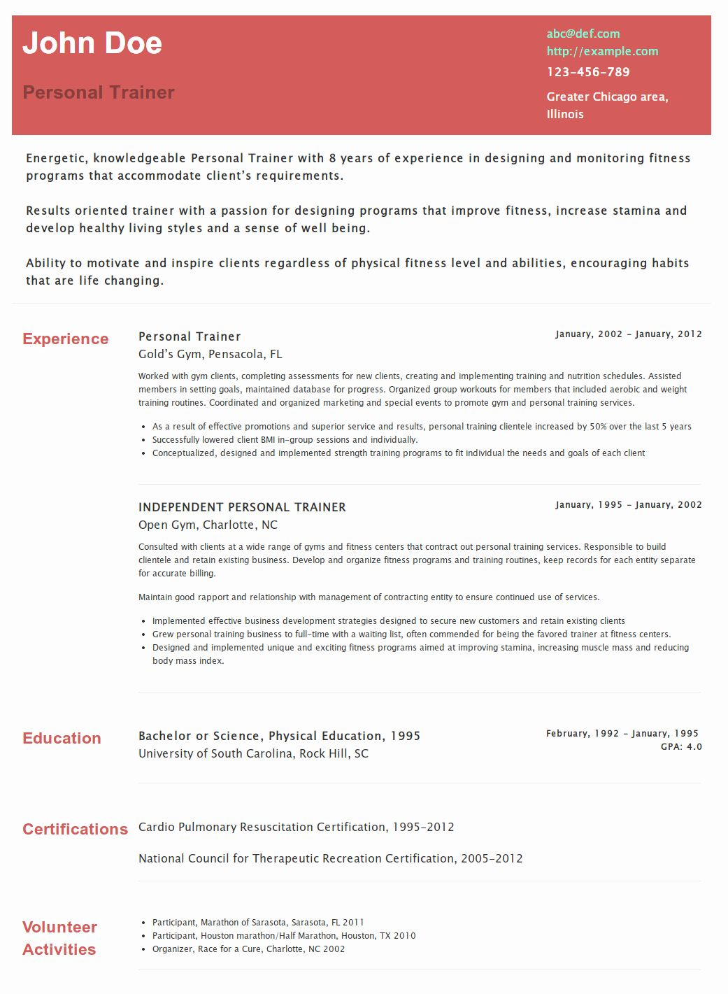 Group Fitness Instructor Resume Lovely Pin By Hipcv On Hipcv Resume Examples Resume Examples Personal Trainer Group Fitness Instructor