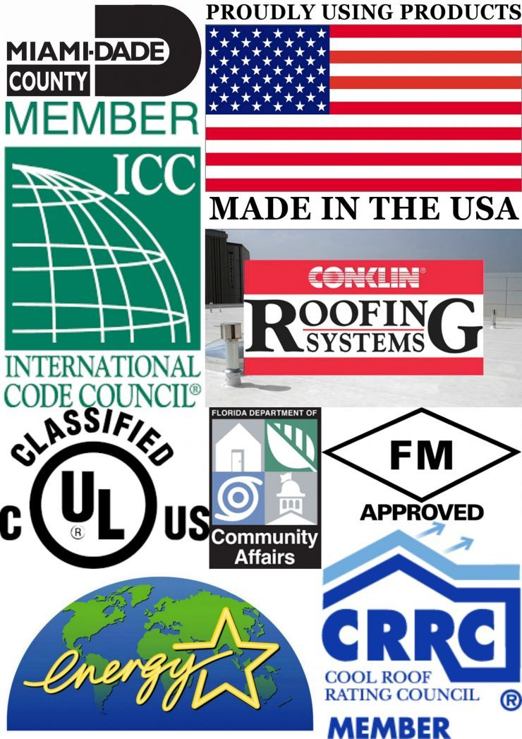 Collage Photograph That Lists All The Conklin Products Memberships And Accreditations Roofing Systems Cool Roof System