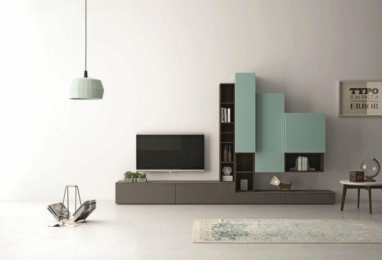Wohnwand In Grau Und Minze Möbel Pinterest Tv Units, Modern   Wohnwand  Modern Klein