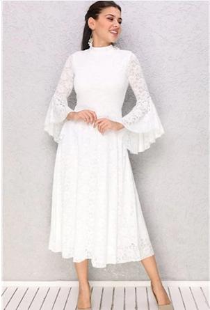 Tasarim Ispanyol Kol Dantel Midi Boy Elbise Nikah Nisan Dugun Fiyatlari Ve Ozellikleri Elbise Dantel The Dress
