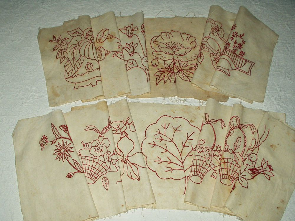 13 Vintage Turkey Redwork Quilt Blocks Squares Victorian to 1930's Flower Motif