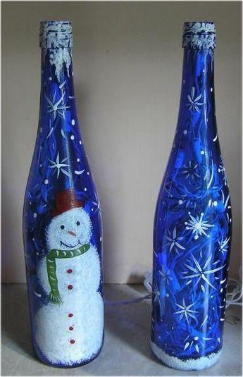 Christmas Wine Bottles Hand Painted Bottles Painted Wine Bottles