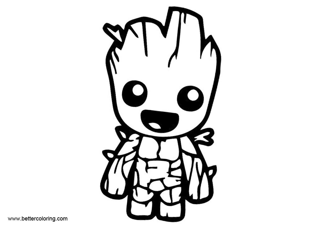 Baby Groot Coloring Pages Black And