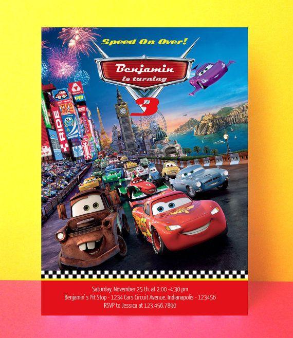 disney cars invitation, lightning mcqueen birthday invitation, Birthday invitations