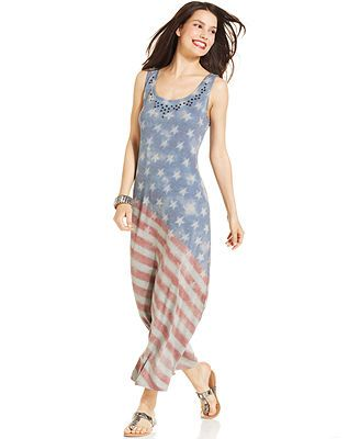 Flag print maxi dress