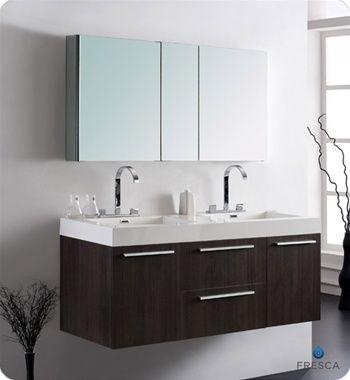 Fresca Opulento Grey Oak Double Sink Bathroom Vanity W Large - 1920s bathroom vanity