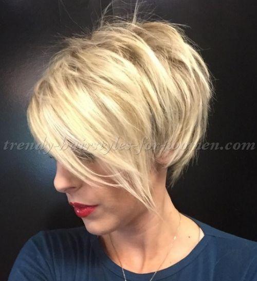 Short Hairstyles With Long Bangs Short Blonde Hairstyle With Long Bangs Short Thin Hair Thin Hair Haircuts Hair Styles