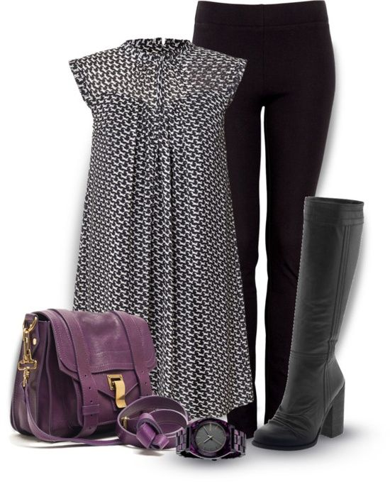 I love the geometric pattern on dress/tunic, and gorgeous pops of colors the purse and watch give! And truly aren't those black slacks and boots just make you feel soo sexy as soon as you put them on?!