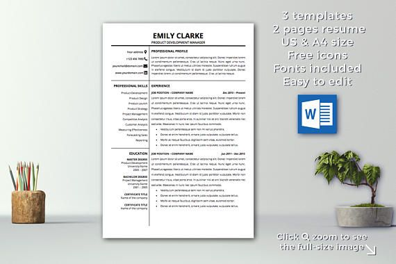 Modern Resume Template Instant Download 1 \ 2 pages CV Template - functional resume word template