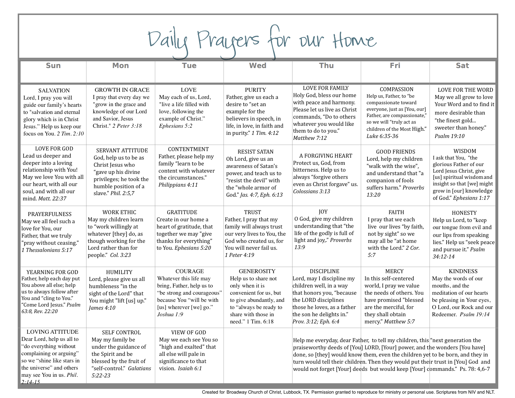 Daily Calendar To Pray Scripture For The Home