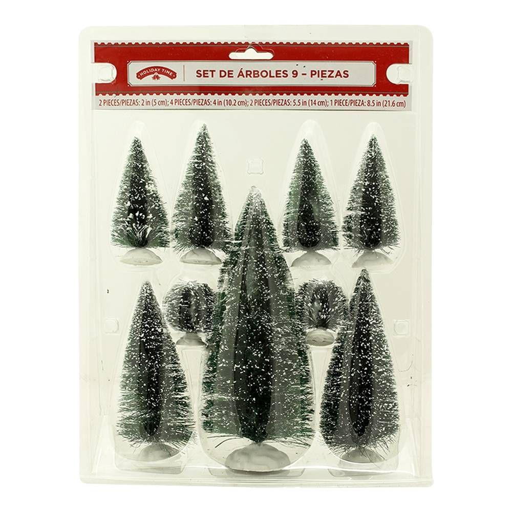 Set de Arbolitos de Navidad Holiday Time 9 piezas
