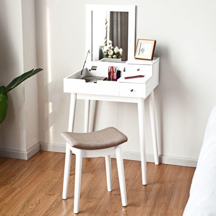 40 OFF Wooden Dresser Set Flip Mirror Desk Furniture Stool Code