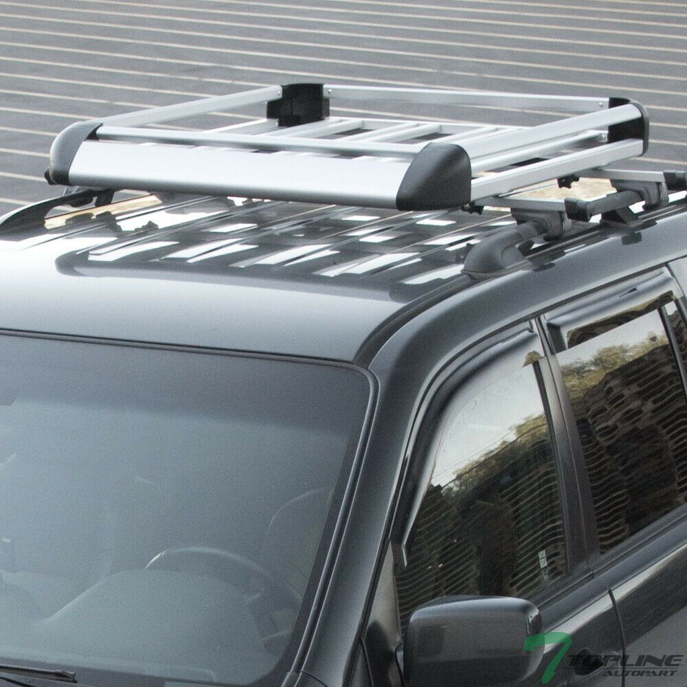 Sponsored Ebay 49 Silver Square Roof Rail Rack Cross Bars Kit Cargo Carrier Luggage Basket T5 Roof Rails Cargo Carrier Aluminum Roof