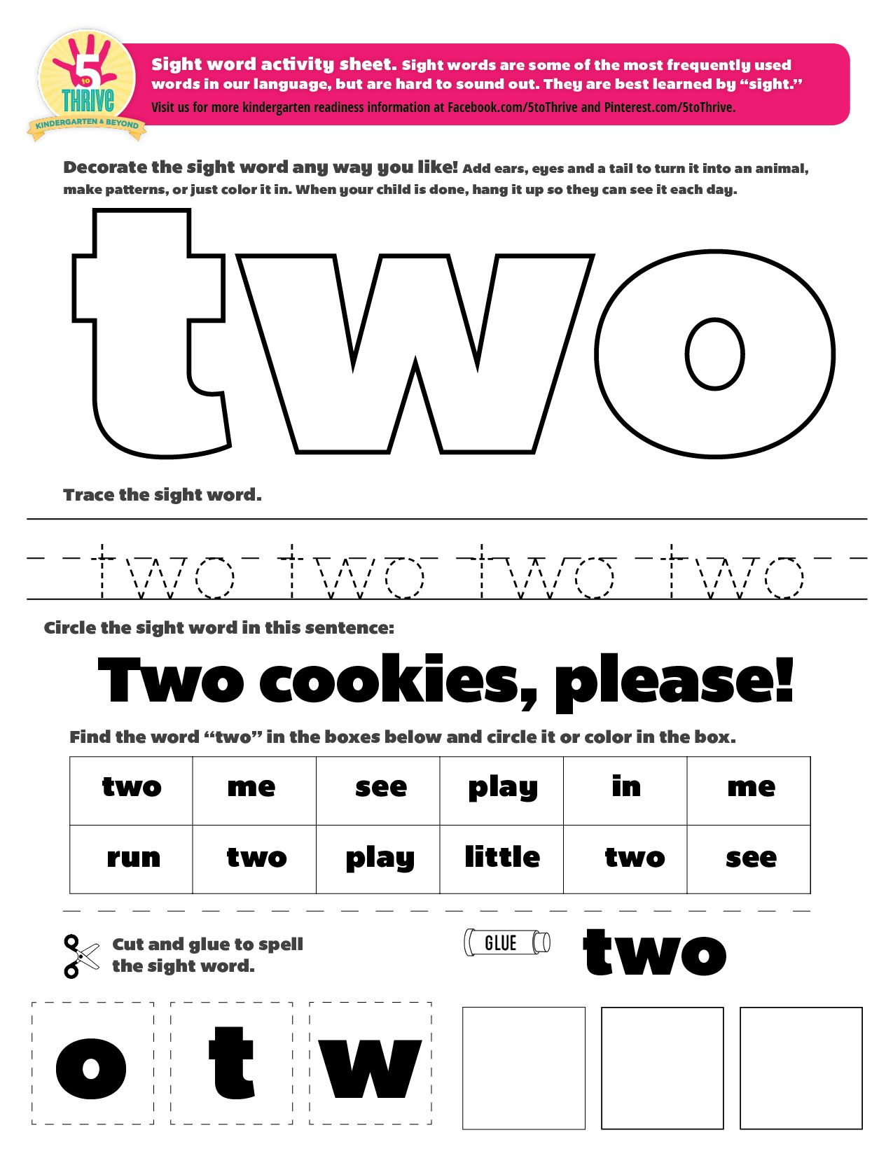 The Sight Word This Week Is Two Sight Words Are Some Of The Most Frequently Used Words Kindergarten Worksheets Sight Words Sight Word Worksheets Sight Words