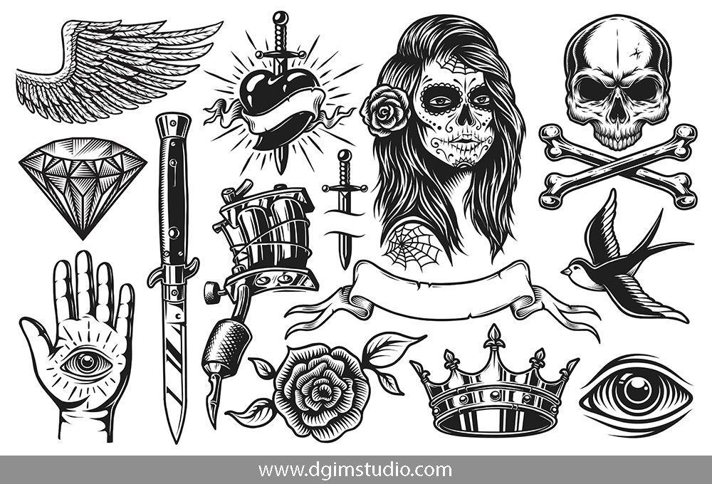 Tattoo Bundle Black White Tattoos White Tattoo Vintage Tattoo
