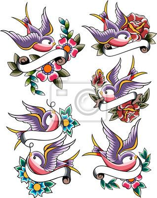 Wall mural swallow tattoo banner shape for Back mural tattoo designs