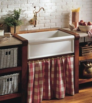 Farmhouse Belfast Sink With Curtain And Baskets Farmhouse