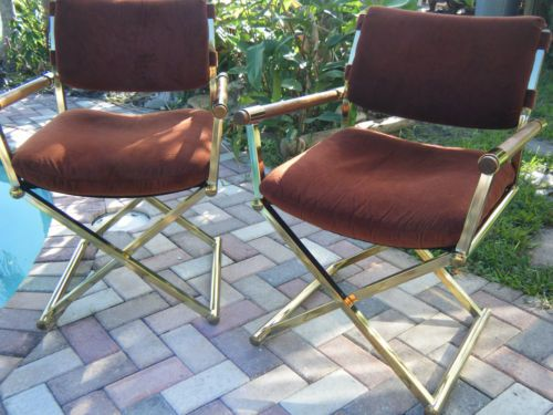Pair Of Vintage Mid Century Modern Brass Directors Chair With Wood Arms