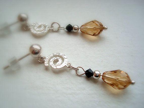 Dangle Earrings  Sterling Silver Swirls with by CrookedCrystal, $14.99