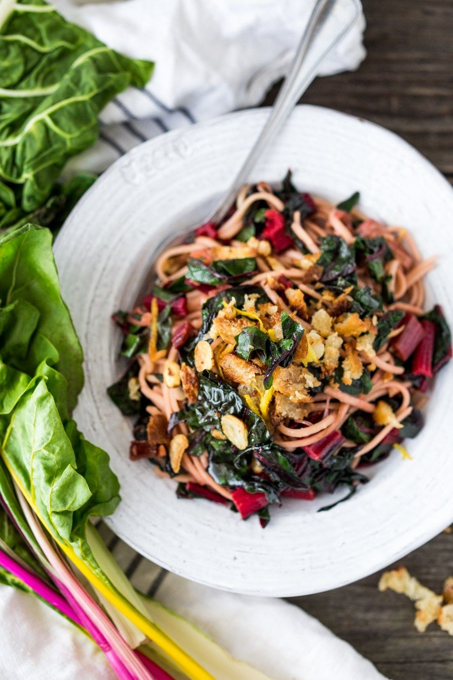 Garlicky Chard Pasta With Toasted Bread Crumbs
