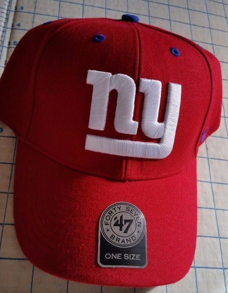 2fa4ac2aa NWT New York Giants Mens Cap Red 47 Brand Audible MVP Adjustable Hat ...