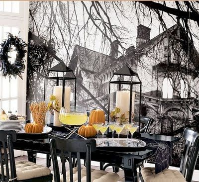 love the candle lanterns and the table decor really like the mural on