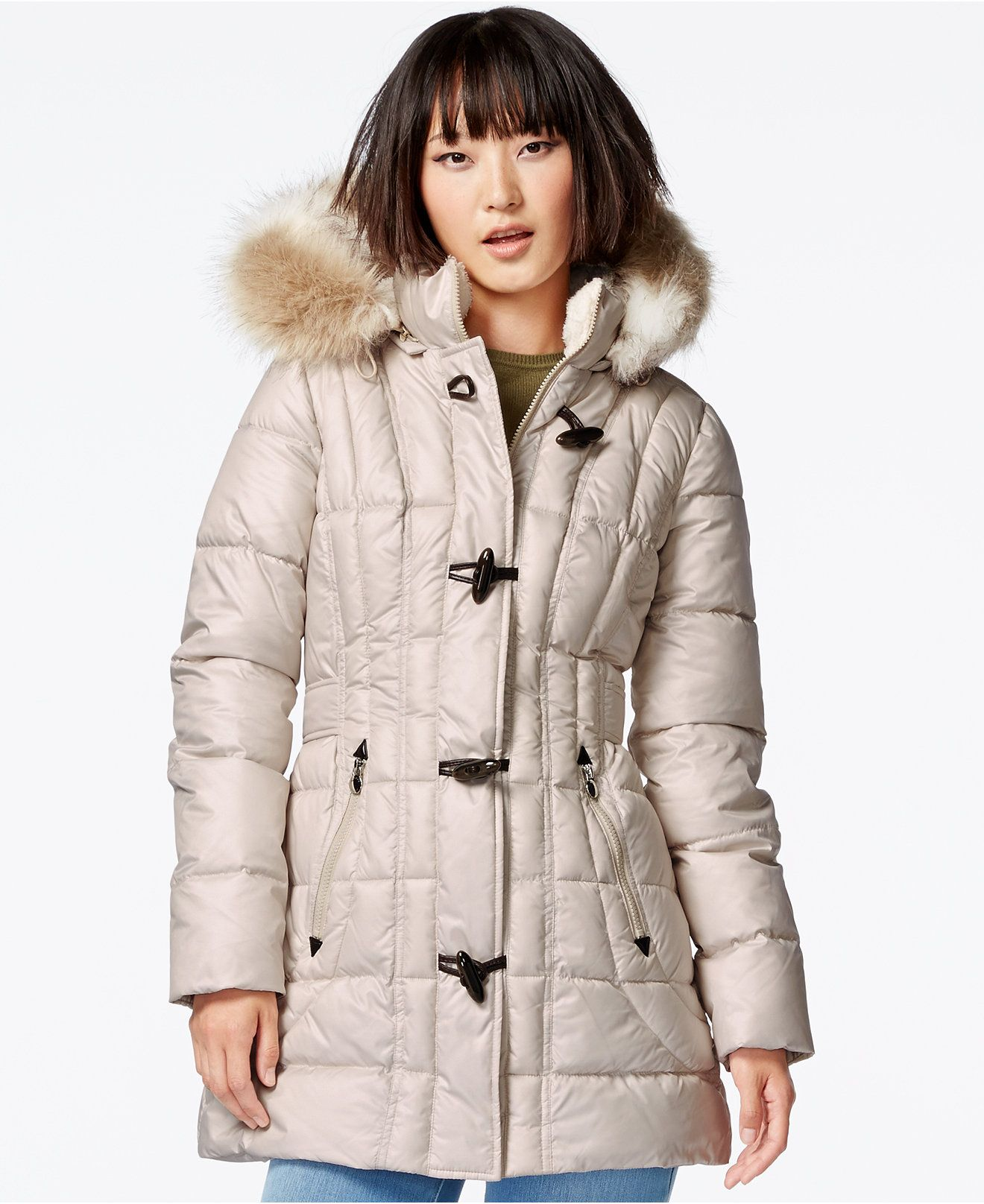 Laundry By Design Faux Fur Trim Toggle Front Puffer Coat Sale Clearance Women Macy S Puffer Coat Pink Puffer Coat Coats For Women