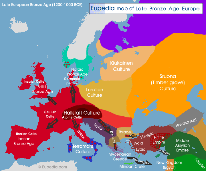 Map of late Bronze Age cultures in Europe between 1200 and 1000